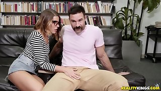 Lusty nerd Adriana Chechik deepthroats and fucks at a library