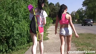 Outdoor lesbian pussy licking and toy play with Nicole Love and Daphne