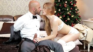 Blonde in white lingerie Alexis Crystal gets cum on her perfect pussy
