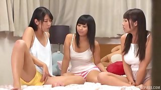 Japanese teen lesbians masturbate with toys next to each other
