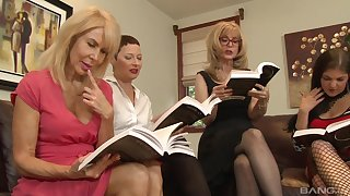 Lesbian orgy in a hotel room with Nina Hartley and her mature friends