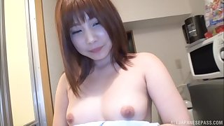 Short haired redhead Hasegawa Rui missionary and doggy fucked