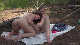 Babyhood share a dildo with regard to outdoor scenes with regard to front of a catch cam