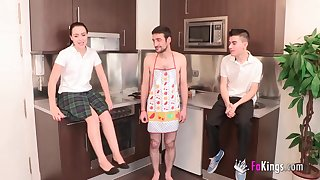 Two Studs Having Fun Surrounding A Steamy Housewife