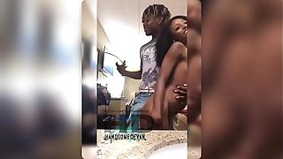 Tiny ebony coincide cage gets deep stroked and nutted on apart from the brush sister's phase Handsomedevan