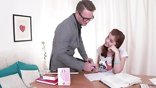 A student plant on her seduction skills and she wants her tutor's cock