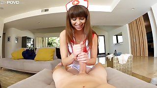 Stunning super curvy nurse Riley Reid gives BJ plus rides naughty patient